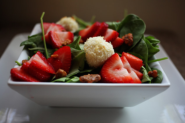 main courses  Recipe: Spinach salad with strawberries, panko crusted goat cheese, and candied walnuts