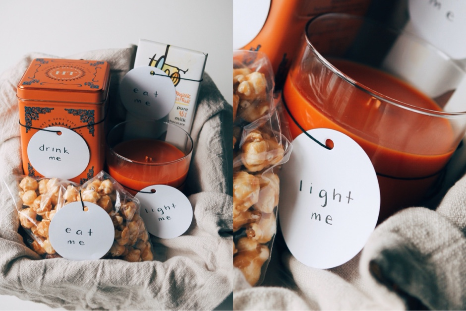 simple care gift candle tea and popcorn