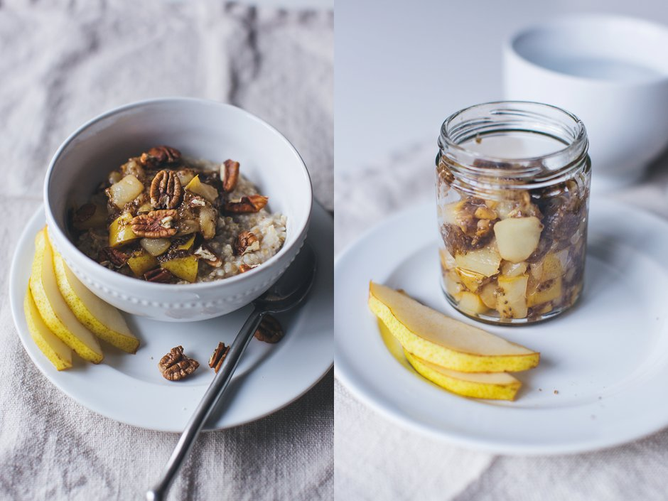 recipe oatmeal with pear chia seed jam