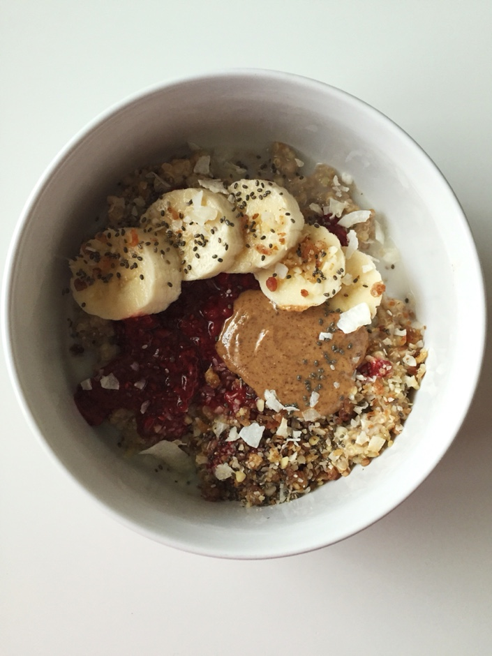recipes featured breakfast  RECIPE: 3 Grain Porridge with Almond Butter and Chia Seed Jam