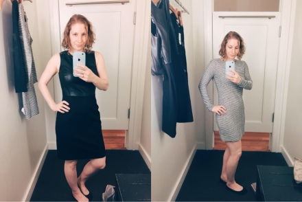 Trying on clothes