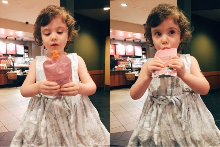 lily eats applesauce