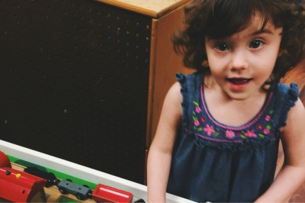 lily playing with trains