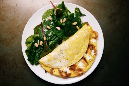 recipe caramelized onion and goat cheese omelette